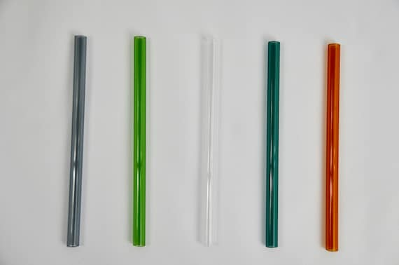 "Set of 5 Reusable Clear Straight Glass Straws 9/""X10mm with Cleaning Brush"