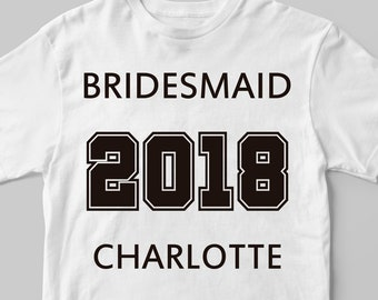 257458a98 Bridesmaid tshirt with name, Iron on decal, Bridesmaid iron on transfer,  Bridesmaid name decal, Bachelorette, Bridesmaid, College shirt