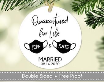 Wedding Ornament, Quarantined for Life Keepsake, Personalized Wedding Gift, Bride and Groom Mask Ornament, Ceramic or Aluminum Keepsake