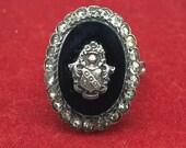 Vintage Victorian Sterling Silver Black Onyx Ring Size 6.5 Gemstone Rhinestone Art Deco Coat of Arms Shield