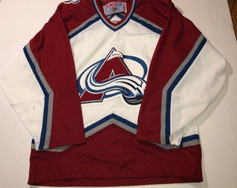 43ec3cadc VINTAGE COLORADO AVALANCHE ccm hockey jersey size small adult 90s stitched s