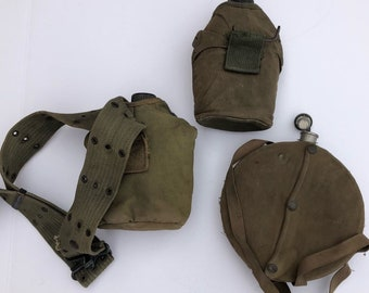 d9dd0e008 1960s Vintage Vietnam US Army Metal Canvas Canteen Lot Of 3 With Covers  Belt 60s olive green 1960s military issued
