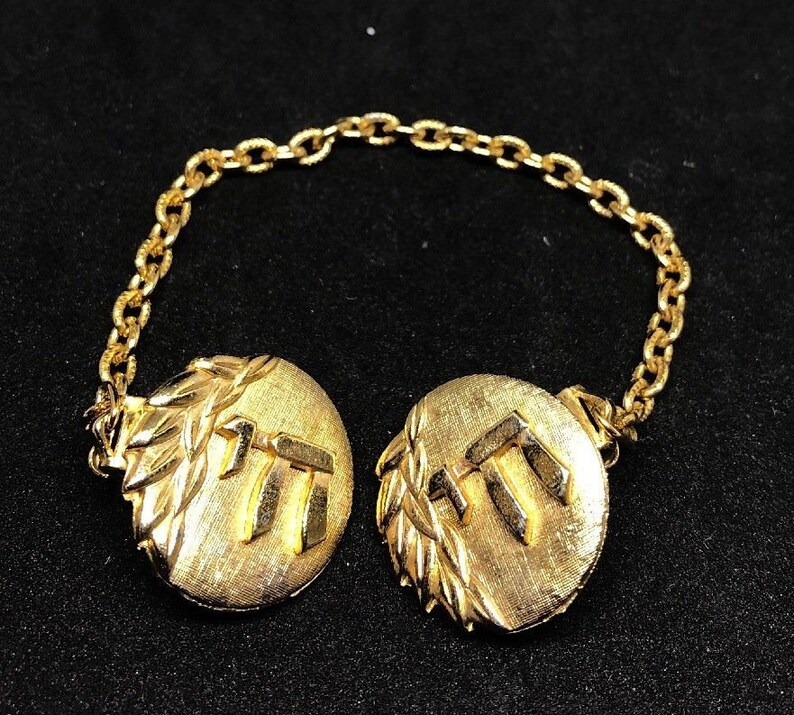 VINTAGE JARCONI DESIGNER hebrew jewish signed sweater shawl clip gold plated israel fashion costume