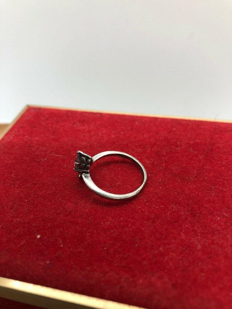 Sterling Silver Rose Quartz Ring Size 6 Heart Love Vintage