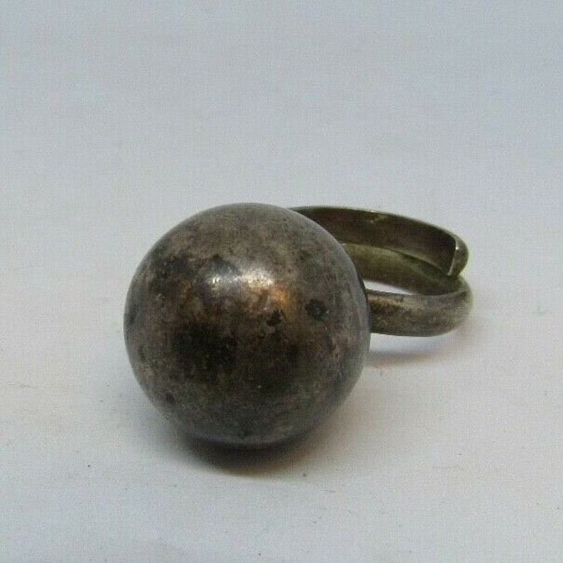 Vintage Mexico Sterling Silver 925 Large Ball Jingle Bell Ring Sz 8 Adjustable ringing taxco ball modernist marked signed