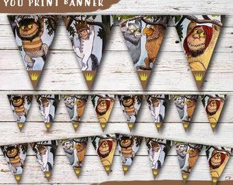 Where The Wild Things Are Birthday Party Banner, Instant Download-You Print Where The Wild Things Are Banner, Wild Things Decoration, Banner