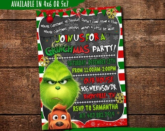The Grinch Invitation, The Grinch Party Invitation, The Grinch Party, Digital-You Print The Grinch Invite, The Grinch Christmas, Grinchmas