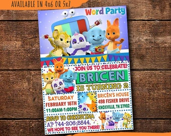 Word Party Birthday Invitation Digital Print Yourself Invite