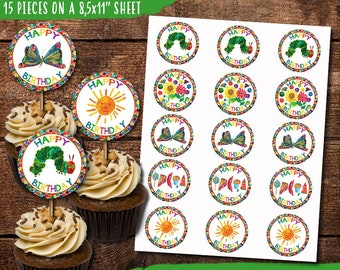 Very Hungry Caterpillar Birthday Cupcake Toppers Digital Print Yourself INSTANT DOWNLOAD Caterpillat Stickers Tags