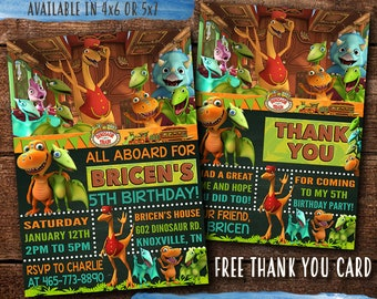 Dinosaur Train Birthday Invitation Digital Print Yourself Invite Party Free Thank You Card
