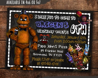 Five Nights At Freddys Birthday Invitation Digital Print Yourself Party Invite