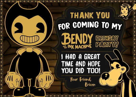 Bendy And The Ink Machine Thank You Card Digital Print | Etsy