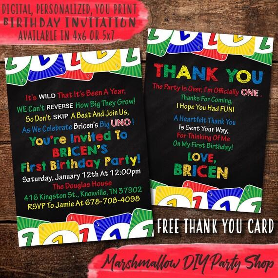 Uno Card Game 1st Birthday Invitation Digital Print Yourself Etsy