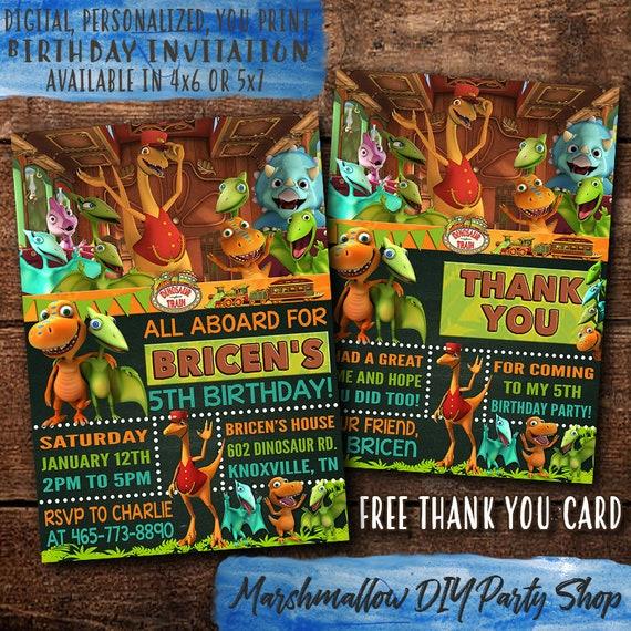 Dinosaur Train Birthday Invitation Digital Print Yourself Invite Party Free Thank You Card