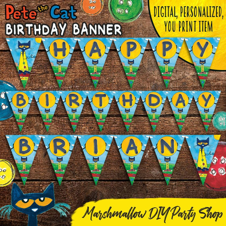 Pete The Cat Birthday Party Banner Digital Personalized You Etsy