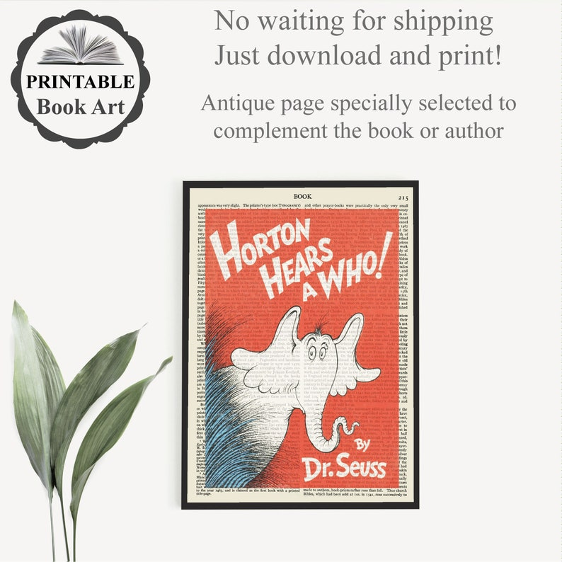 Affordable Kids Room Wall Art Print Toddler Nursery Decor Printable /'Horton Hears A Who/' Book Cover Art Print on Old Page