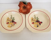 Set of 2 Homer Laughlin Mexicana Rimmed Soup Bowls, Red Band, Clay Pottery Design