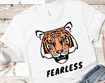 66581cb6f Tiger T Shirt, Tiger Shirt, Fearless T Shirt, Animal Lover Gift, Tiger  Print Shirt, Unisex Tees