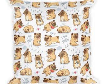 Pug Pillow, Pug Gift, Dog Lover Gift, Dog Decor, Pug Decor