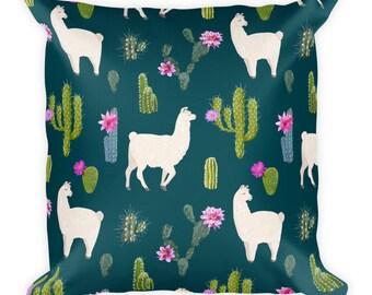 Llama Cactus Pillow, Llama Cactus Decor, Llama Cactus Gifts, Decorative Pillow, Llama Gifts, Throw Pillow