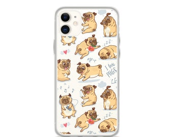 iPhone 11 Pro Max Case Pugs Printed Clear iPhone 11 Case iPhone 11 Pro Case iPhone XR Case iPhone XS Max Case iPhone X Case 6 7 8 Plus