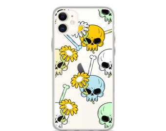 iPhone 11 Pro Max Case Skulls Floral Clear iPhone 11 Case iPhone 11 Pro Case iPhone XR Case iPhone XS Max Case iPhone X Case iPhone Plus