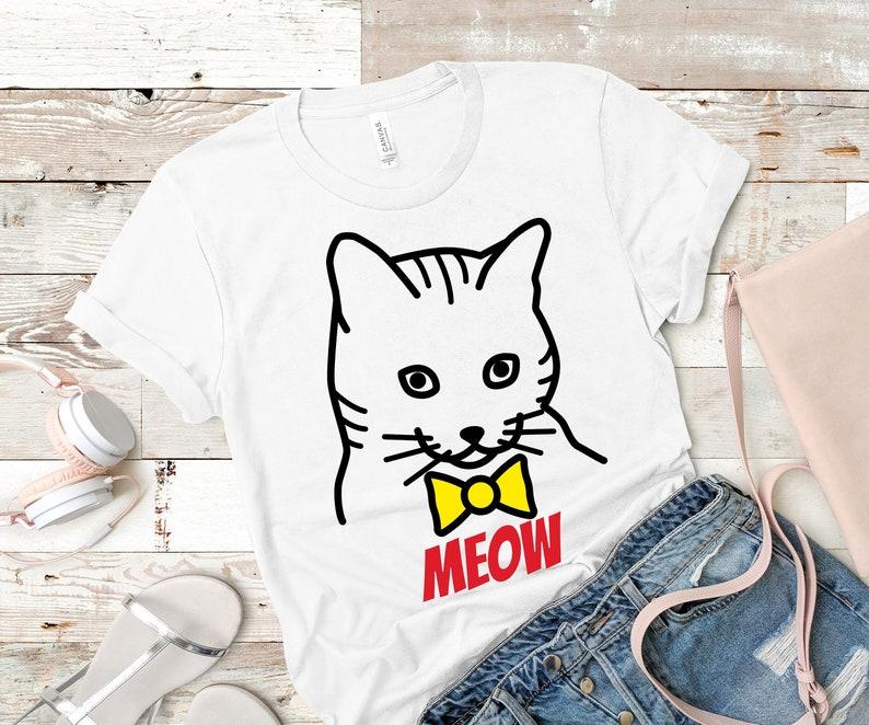 Cat Shirt Cat T Shirt Cat Lover Shirt Funny Meow Tee Funny image 0