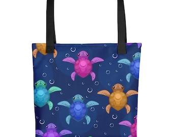 Baby Sea Turtles Printed Tote Bag, Reusable Shopping Bag, Fashion Tote Bag, Beach Tote, Market Bag, Print Tote Bag, Gift for her