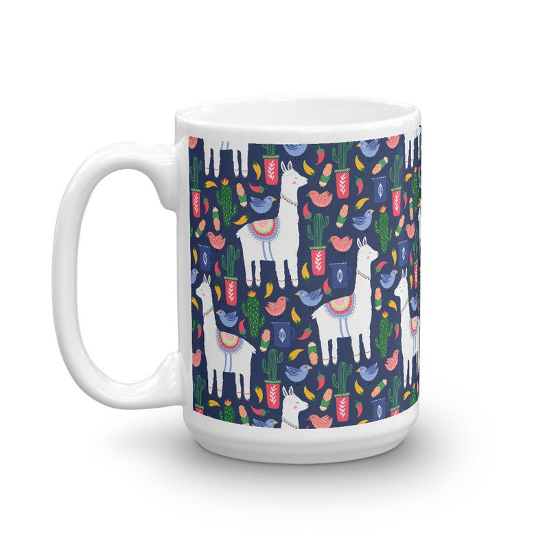 Llama Cactus Pattern Coffee Mug Cute Llama Gifts Decor Gift image 0