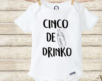 d007acfe6 Cinco De Drinko Onesie® Funny Baby Shower Gift Food Shirt Funny Onesies Baby  Boy Clothes Cute Baby Onesies Taco Bout Cute Cinco De Mayo