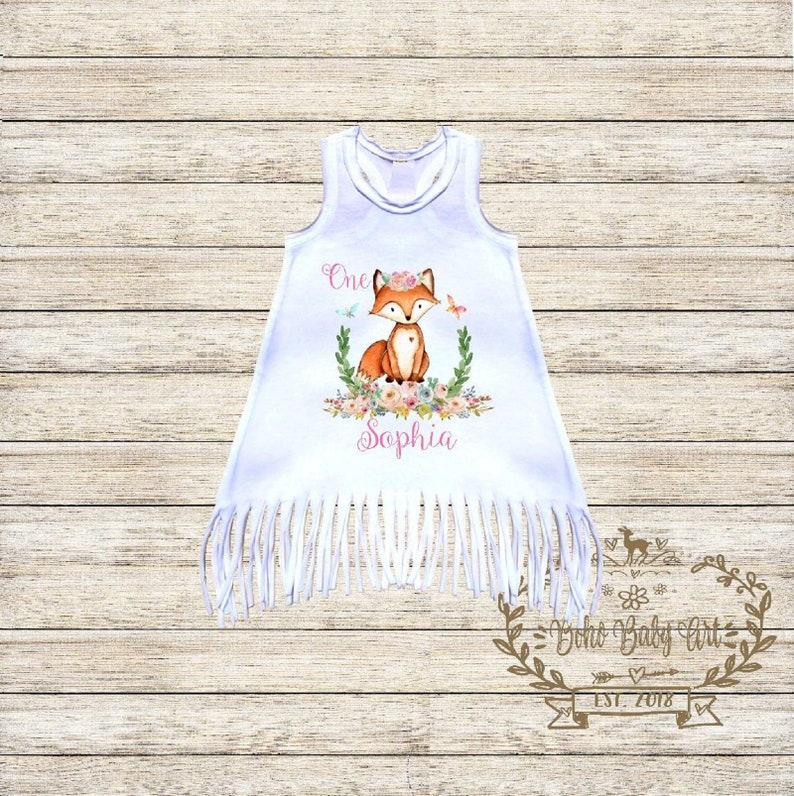 Wild One Birthday Dress First Birthday Girl Dress 1st Birthday Outfit One Shirt Baby Girl Clothes Boho Baby Clothes Girl Fox Birthday Shirt