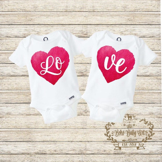 Love Twins Onesies\u00ae Valentins Day Twins Onesies Funny Twins Shirt Cute Twin Baby Onesies Twin Baby Outfits Twins Gifts Twins Set BFF Shirt
