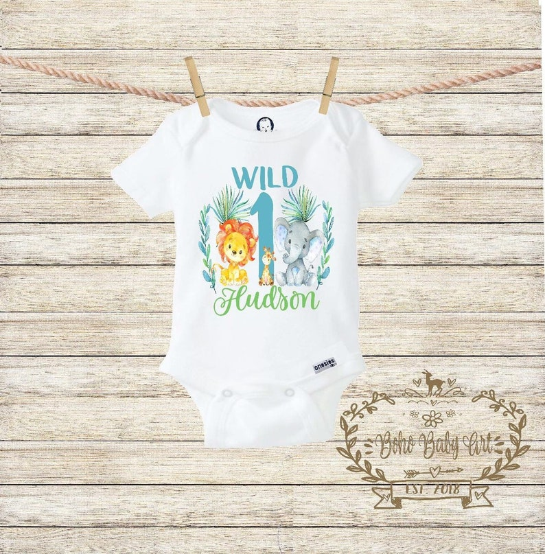 Wild One OnesieR First Birthday Zoo Shirt
