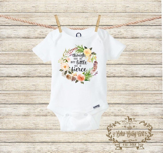 Baby Girl Baby Reveal Though She Be Little She Is Fierce Infant Clothing Baby Sister New Baby Little Sister Baby Announcement