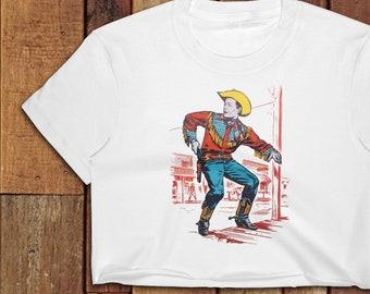 Women s 1950s style Roy Rogers Western cowboy shoot out Women s Crop Top ef3b6b3b7
