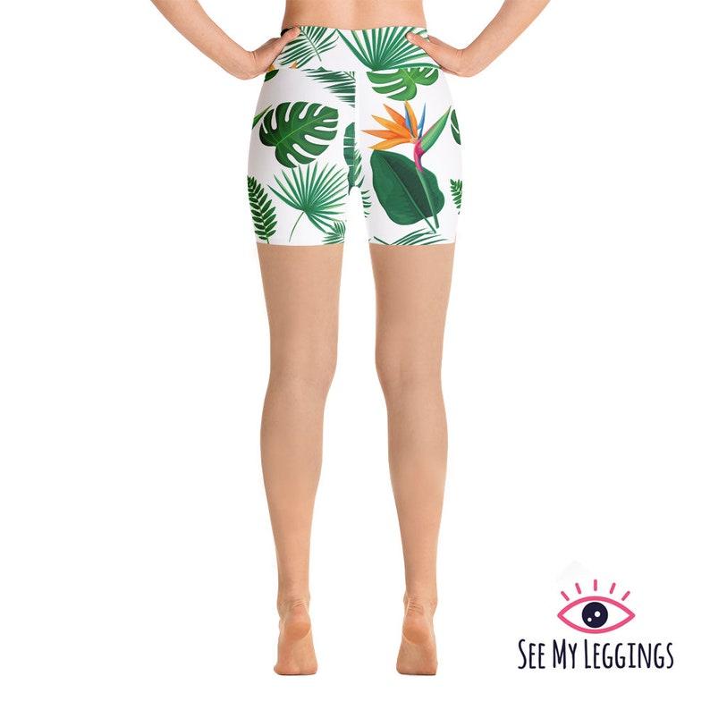 High Waisted Shorts Tropical Print Yoga Shorts Festival Shorts Activewear Gym Shorts Yoga Clothing Women Shorts