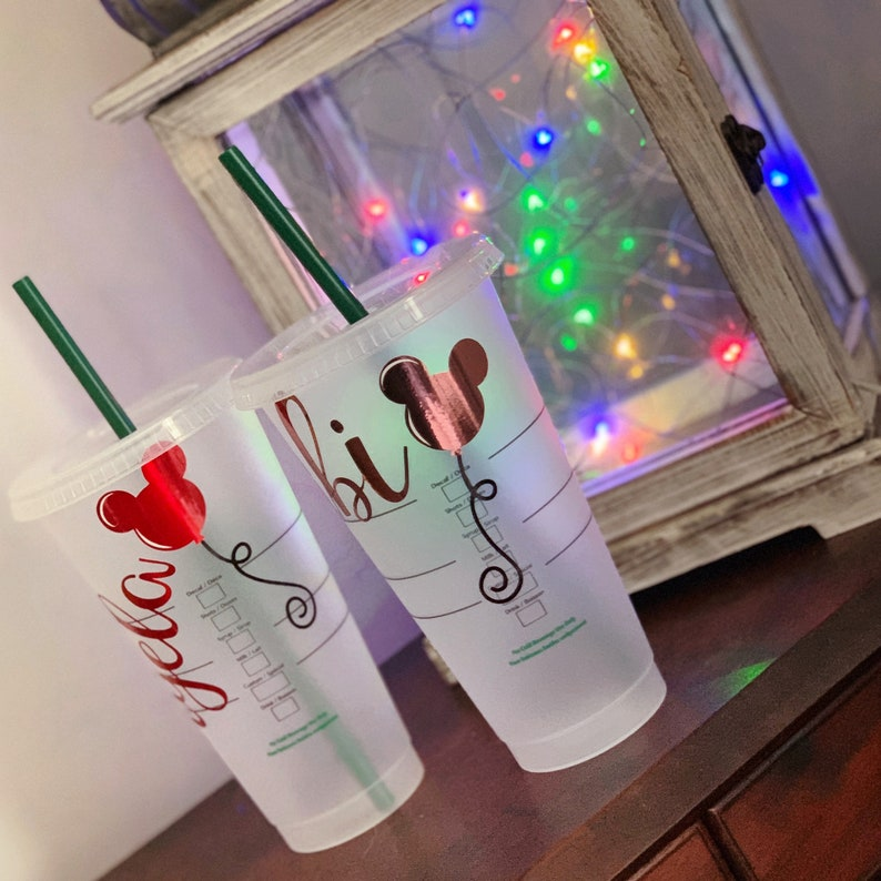 ae49c423dbc Balloon Inspired Personalized Starbucks Venti Reusable Cold Cup with Name &  Balloon, Plastic Tumbler