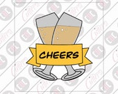 Champagne Glasses Wine Glasses Banner Glasses Crossed Glasses Toasting Cheers Cookie Cutter