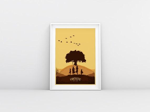 Wes Anderson Fantastic Mr Fox Minimalist Movie Poster Etsy