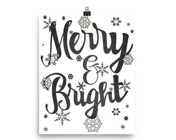 PRINTABLE CHRISTMAS & YULE Merry and Bright Black Velvet Wall Art