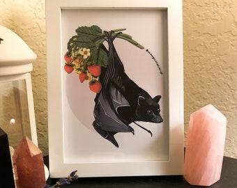 Strawberry Bat Art Print