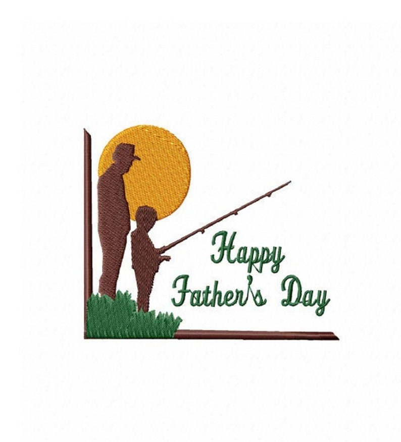 Machine Embroidery Design Happy FATHER/'S DAY Fishing Family 2 Sizes Embroidery for Kids,T-Shirts Caps Jeans Jackets Modern Designs
