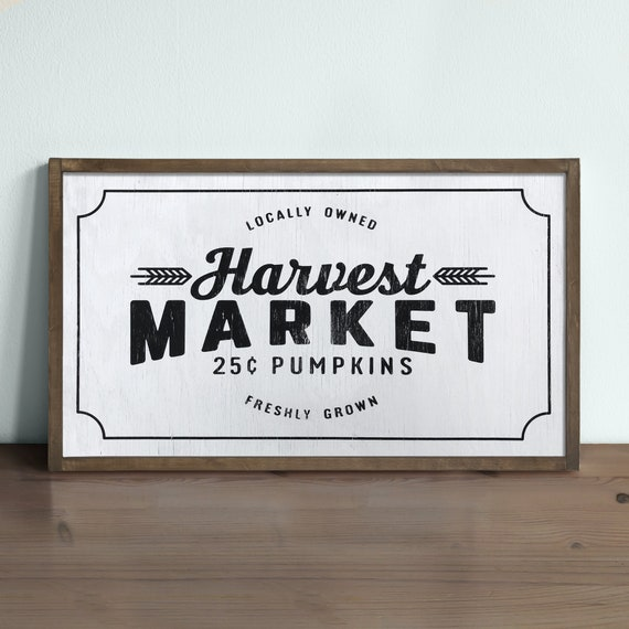 framed made by hand wood sign vintage inspired market Farmhouse HARVEST MARKET Hand painted black and white fall Wall decor