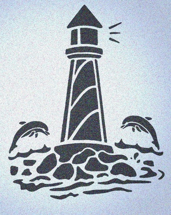 Lighthouse w//Dolphins Stencil Mylar Light Houses Fish Nautical Wall Painting Stencils