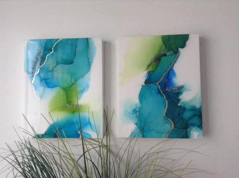 Duo art resin, epoxy resin wall art, Duo alcohol inks art on wood 8 x 10  inchs