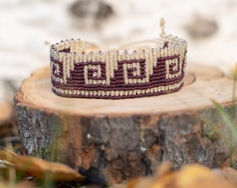 Macrame bracelet - indigenous mayan weave - purple and white string jewelry- Made To order
