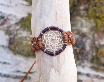 Dreamcatcher mini macrame bracelet - wearable art - Made to order