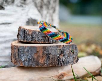 Rainbow macrame  bracelet - Pride jewelry - Made to order