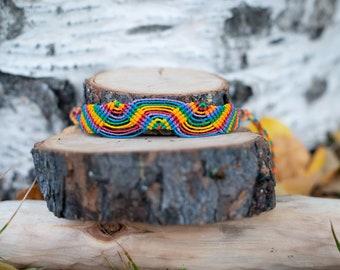 Macrame rainbow bracelet - Original design - Made To Order