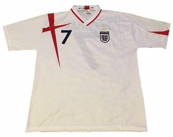 Vintage England David Beckham  7 Jersey. vaultvintageclothing d0eb82c94